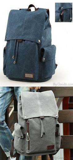 5e2f6bb25f5c Retro Large Men s Canvas Drawstring Laptop School Rucksack Travel Hiking Backpack  for big sale!