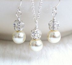 Ivory 4 Sets Of Necklaces And Earrings Bridesmaid by LaurinWedding, $65.00