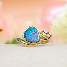 14k Yellow Gold Diamond, Premium Grade Rainbow Fire Australian Black Opal Doublet (Boulder Opal) Ring