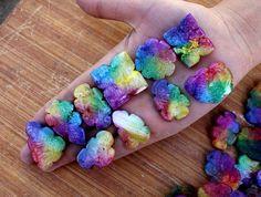 5 Pcs Multi Color Solar Quartz Carved Cabochons  Rainbow