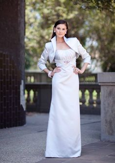 2015 Strapless Satin Ruched Sleeveless Jacket Floor Length A-line Mother of the Bride Dresses MBD346