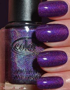 Color Club sparkly purple nails