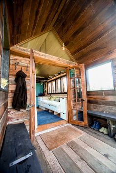 "Salvage Chic: 200 sq ft ""Pocket Shelter"" is Overflowing With Rustic Charm. Created over 5 years, this became a prototype for a line of tiny houses. 