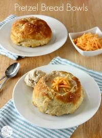 Pretzel Bread Bowls on MyRecipeMagic.com will go perfectly with your favorite soup!