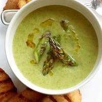 BHG's Newest Recipes:Grilled Asparagus Soup with Chile Croutons Recipe