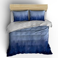 Items similar to Grey or Navy Blue Watercolor Bedding- Duvet Cover or Comforter -Your Choice of Colors- TW, TWXL, F-Qu, King on Etsy Best Bedding Sets, Luxury Bedding Sets, Modern Bedding, Comforter Sets, Pillow Shams, King Comforter, Aztec Bedding, Navy Blue Comforter, Yurts