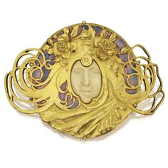 Silver Gilt, Gold, Ivory and Enamel Brooch, Attributed to Piel Frères, Circa 1899-1900