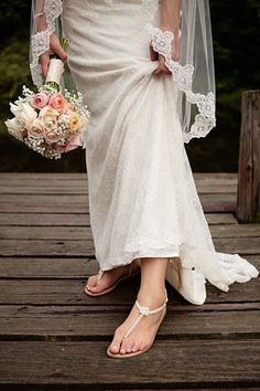 Lace gown and wedding sandals. I love brides who choose comfortable shoes!