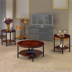 Trisha 3 Piece Coffee Table Set in Cherry