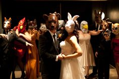 animal masks make every wedding special.