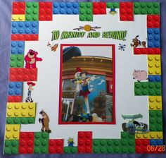 handmade scrapbook layout: Disneyland, California, Woody, Buzz Lightyear, Toy Story, Legos