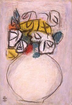 生誕100年 松田正平展 陽だまりの色とかたち : MATSUDA Shohei - A Centennial Retrospective :神奈川県立近代美術館<鎌倉館> 《バラ》 1983年 油彩、カンヴァス 学習院女子大学蔵