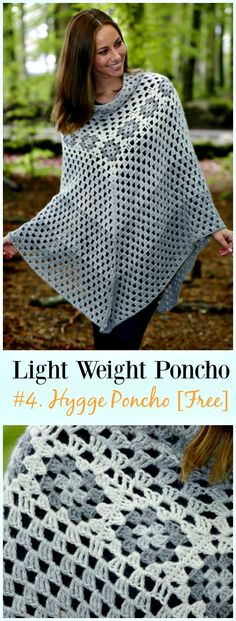 Crochet Hygge Poncho Free Pattern-Light Weight Spring Summer #Poncho; Free #Crochet; Patterns
