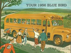 Vintage school bus illustration ad...first on/last off first through seventh grades...one hour one way...1957-1964