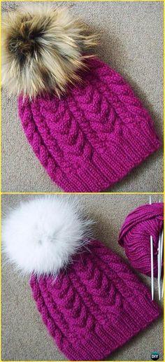 Knit Wine Cable Hat Free Pattern - Knit Beanie Hat Free Patterns