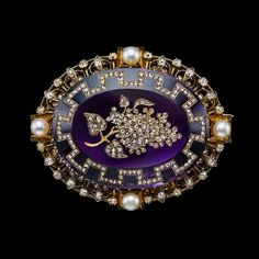 Amethyst, Pearl and Diamond Lilac Floral Brooch, ca. Amethyst Jewelry, Rose Gold Jewelry, Gems Jewelry, Jewelry Art, Victorian Jewelry, Antique Jewelry, Vintage Jewelry, Handmade Jewelry, Gemstone Brooch
