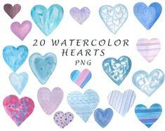 Heart Clipart: Digital Heart Clipart Valentine | Etsy Heart Graphics, Heart Clip Art, Blog Backgrounds, Watercolor Heart, Valentine Heart, Graphic Illustration, Illustrations, School Design, Design Bundles