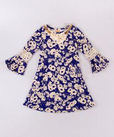 This Blue & Cream Crochet Boho Dress - Toddler & Girls is perfect! #zulilyfinds