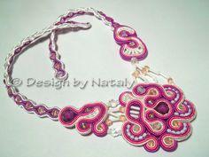 OOAK Soutache Jewelry Necklace Czech Glass Beads Pink Lilac White Charm by DesignByNataly on Etsy https://www.etsy.com/listing/169148029/ooak-soutache-jewelry-necklace-czech