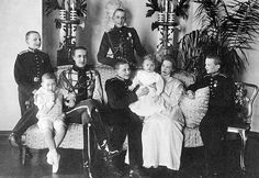 "The Konstantinovichi children ~ Igor,Georgiy,Ioann,Konstantin,Vera,Tatiana, Oleg with Gavril standing at the back. ""AL"""