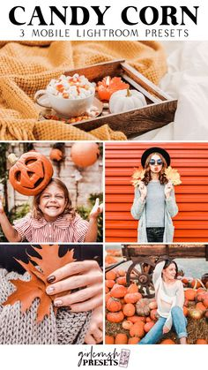 These Lightroom Presets can be used to make beautifully enhanced photos using the free Lightroom CC app. It is a perfect photo addition for for bloggers, business owners, influencers, or anyone who wants to give their photos a nice boost! With just one click on your phone you can alter your photos and images to create a unique aesthetic. The Candy Corn Lightroom Mobile Presets were designed to boost and brighten your photos. They are optimized for fall themed images with oranges and greens.