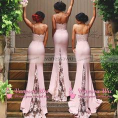 Sweetheart Bridesmaid Dresses with Lace Appliques, Pink Lace Bridesmaid Gowns with Sweep Train, Latest Mermaid Bridesmaid Dress, #01012822 · VanessaWu · Online Store Powered by Storenvy