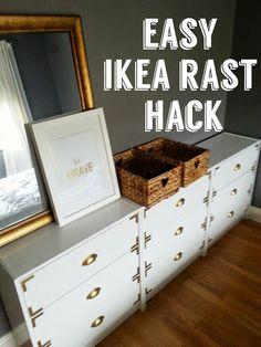 Easy Ikea Rast hack tutorial-white/gold/campaign style - Home & DIY Ikea Furniture Hacks, Retro Furniture, Furniture Projects, Furniture Makeover, Furniture Movers, Furniture Stores, Furniture Nyc, Furniture Online, Campaign Dresser