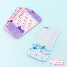 With this stylish protective and cute cover you can protect your iPhone 6 plus from drops, scratches and dirt. The case has openings for all the important plug-ins and it is made from semi-hard plastic. The back side features a cute ribbon and lovely stripe or heart pattern. Choose from 4 cute pastel colors! So kawaii!