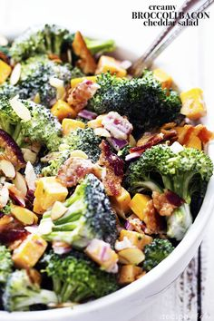 A delicious broccoli salad full of bacon, cheddar, and almonds. The creamy dressing on top is sweet and tangy and AMAZING! I told you in my last post when I made Broccoli Apple Salad, that we are ...