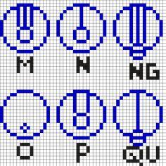 M-QU Gallifreyan Alphabet - Doctor Who Perler Bead Pattern