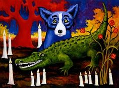 Blue Dog and an Alligator
