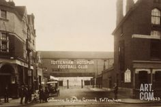 An poster sized print, approx mm) (other products available) - Entrance to Tottenham Hotspur football ground, c. 1906 - Image supplied by Mary Evans Prints Online - poster sized print mm) made in the UK Tottenham Hotspur Football, Image Foot, Football Stadiums, Football Art, Old Pub, Framed Prints, Canvas Prints, Framed Wall, Graphic