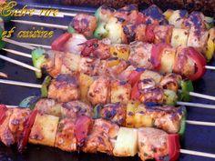 Brochettes de Poulet mariné aux épices Tandoori et Ananas