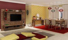 Conjunto para Sala de Estar e Sala de Jantar Indiana com Estante Home Suspenso, Aparador, Mesa e 6 Cadeiras Nobre/Floral Colorido/Marrom - Caaza