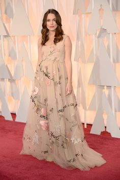 Keira Knightley wore a Valentino Haute Couture gown from the Spring Summer 2015 collection at the 87th Annual Academy Awards, on February 22nd 2015, in Los Angeles