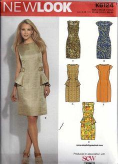New Look Dress Sewing Pattern U.S. Sizes 4-16, FR. 32-44 Euro 30-42 K6124