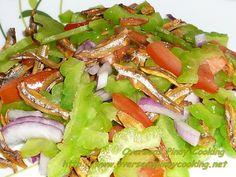 Ampalaya Salad with Crispy Fried Dried Dilis Filipino Dishes, Filipino Recipes, Filipino Food, Sisig, Calamansi, Fish And Meat, Salad Recipes, Salads, Pork