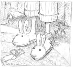 Easter Bunny Slippers From my bunnies to yours, Happy Easter! Doodle Drawings, Cartoon Drawings, Drawing Sketches, Drawing Ideas, Happy Easter, Easter Bunny, Doodle Images, Creativity Exercises, Bunny Slippers