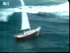 Sailboat gets hit by huge wave