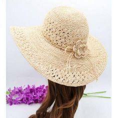 Raffia wide brim straw hat with flower for women summer beach hats 1ece2d06ce5e