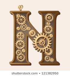 Mechanical alphabet made from gears. Letter n. Raster version. Vector is also available in my gallery
