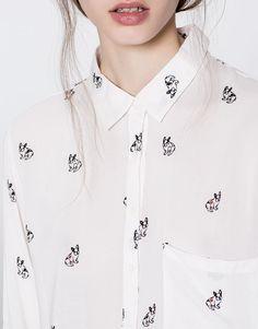 Long sleeve printed shirt - Best sellers ❤ - Clothing - Woman - PULL&BEAR United Kingdom