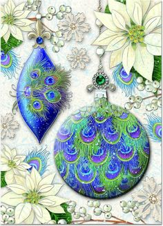 Punch Studio Christmas Holiday Boxed Greeting Cards Peacock Ornament 74980 | eBay