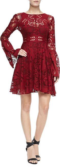 Free People Lace Lovers Bell-Sleeve Dress #bohemian #boho #fashion