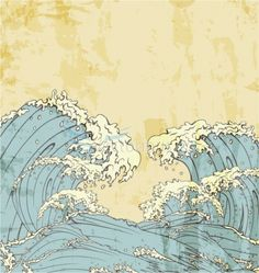 This evokes the randomness of swirling waves but I prefer them to move in the same direction (DS) Japanese Waves, Japanese Prints, Japanese Art, No Wave, Art And Illustration, Waves Vector, Art Japonais, Wave Art, Japanese Painting