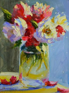 BOSSIE BLOMME is an original painting of a beautiful floral still life depicting garden flowers in a mason jar. This pink and blue art work is the perfect gift for mom at Christmas! This listing is for: This listing is for an oil on canvas 12 x 9 Painting Still Life, Still Life Art, Still Life Flowers, Blue Art, Abstract Watercolor, Abstract Art, Original Paintings, Oil Paintings, Flower Paintings