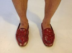 Red White and Blue! Loving my friends splatter painted penny loafers
