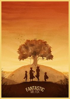 My illustration of the atmospheric autumn sunrise featured in the Wes Anderson film 'Fantastic Mr. Illustrated by George Townley Best Movie Posters, Minimal Movie Posters, Minimal Poster, Cinema Posters, Movie Poster Art, Cinema Film, Poster Poster, Cartoon Posters, Classic Movie Posters