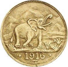 Coin - German East Africa, 15 Rupee 1916T, Need coin from Tabora, Elephant, large Arabesque ends under T, almost extremley fine, small margin fault. Jäger-no. 728b.    Dealer  Gert Müller Auctions    Auction  Minimum Bid:  2500.00 EUR