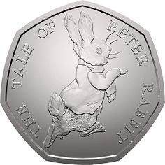 This was issued by The Royal Mint as part of the second series of coins to celebrate the life work of Beatrix Potter. This coin features the design by Emma Noble of Peter Rabbit. Mint Coins, Silver Coins, Beatrix Potter, Fifty Pence Coins, 50p Coin, Coin Design, Coin Values, Uncirculated Coins, Antique Coins